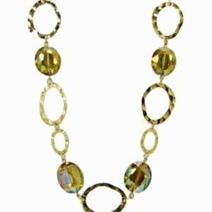 necklace with large circular hoops colored gold and yellow