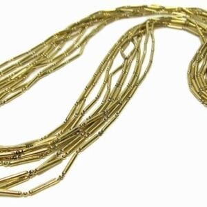 layered necklace with thin golden bars