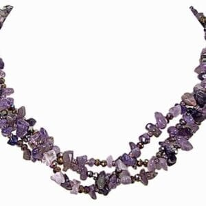 layered necklace with clusters of purple beads
