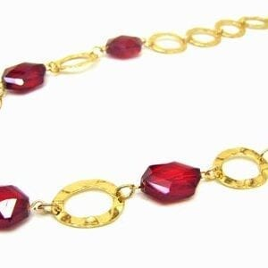necklace with large ruby gems and chain links