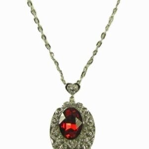 silver necklace pendant with garnet inlay