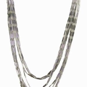 silver necklace with long silver bar beads