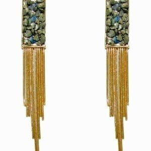 earrings with hanging golden chains and rectangular pendants