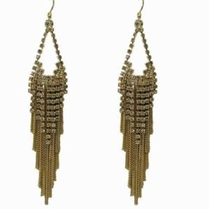 earrings with hanging golden chains and crystals