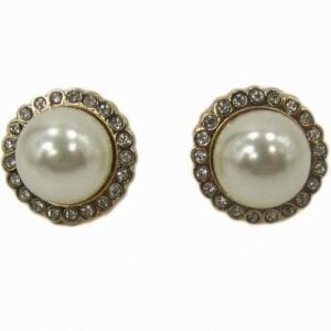 earrings with pearls surrounded by white crystals
