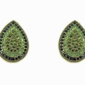 teardrop earrings with tiny green crystals
