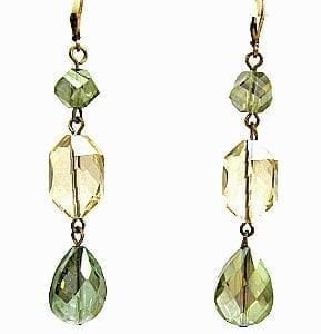 earrings with olive-green and yellow gems