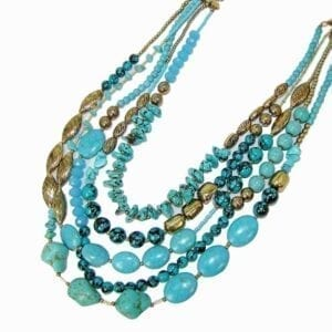 layered necklace with blue stones and gold chains