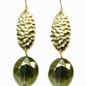 earrings with gold beads and olive-green crystals
