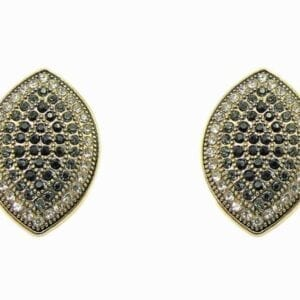 pair of earrings shaped like footballs and studded with tiny crystals