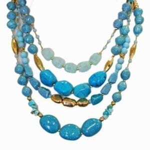 layered necklace with blue stones of various sizes