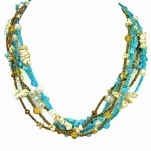 layered necklace with blue and olive-green beads