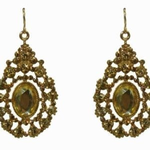 earrings with vintage design and olive-green gem