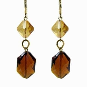 pair of earrings with octagonal and square-cut amber gemstones
