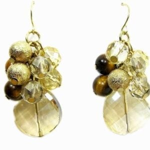 earrings with clusters of gold beads and yellow crystal