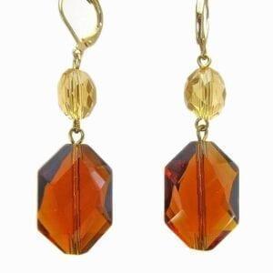 pair of earrings with octagonal amber gemstones
