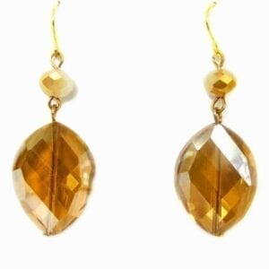 pair of earrings with leaf-shaped amber gems
