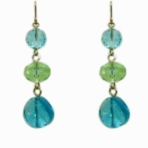 earrings with three green and blue crystals each