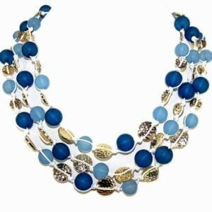 layered necklace with blue orbs and golden beadwork