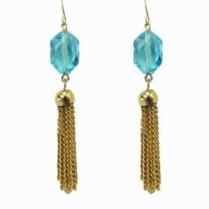 earrings with blue crystals and tassels