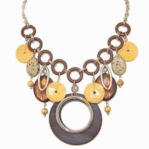 necklace with large circular bands in various shades of brown