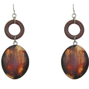 earrings with brown circle ring and oval pendant