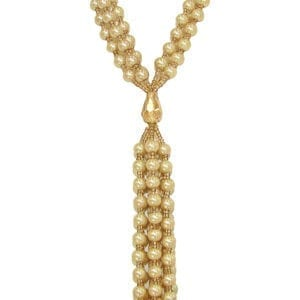 knotted golden necklace with pearl inlays