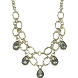 necklace with silver chain links and smoky gray gems