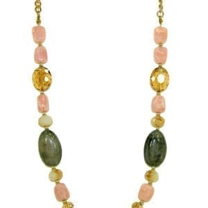 necklace with olive, pink, and gold rocks