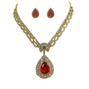 earrings and necklace with large ruby gemstones