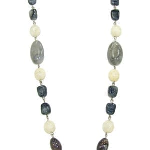 necklace with black, white, and gray stones