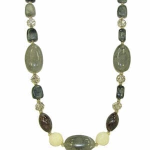 necklace with olive stones and beads