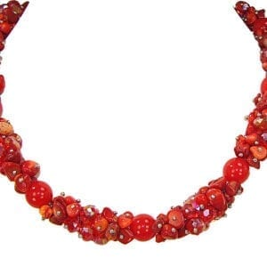 necklace with clusters of bright red beads