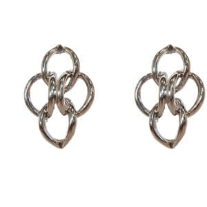 earrings with intertwined and folded golden rings