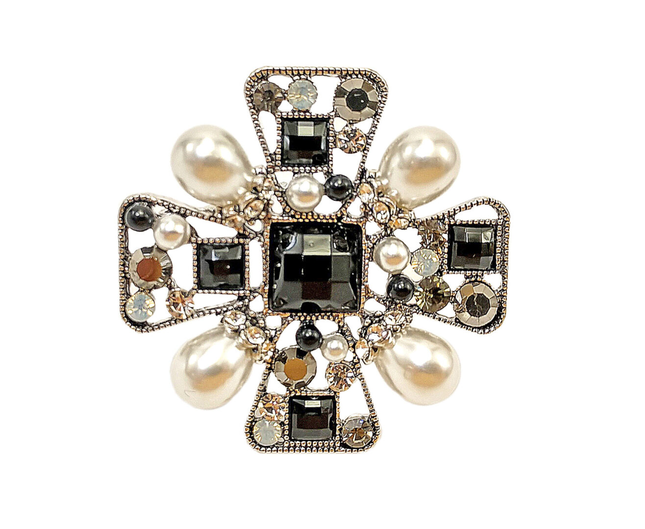 floral brooch with pearls and dark crystals