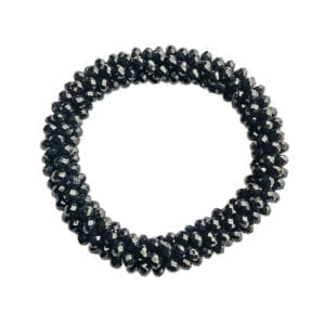 bracelet with clusters of black crystal beads