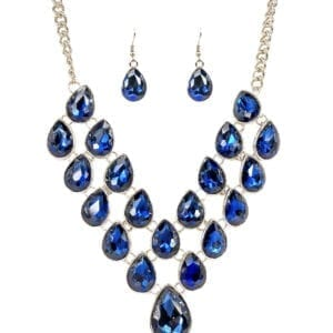 silver chain necklace with many blue teardrop sapphires