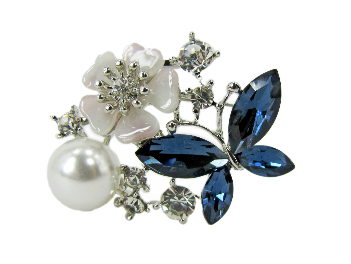 brooch with jeweled blue flower and butterfly