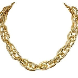 golden necklace with layers of gold chain links