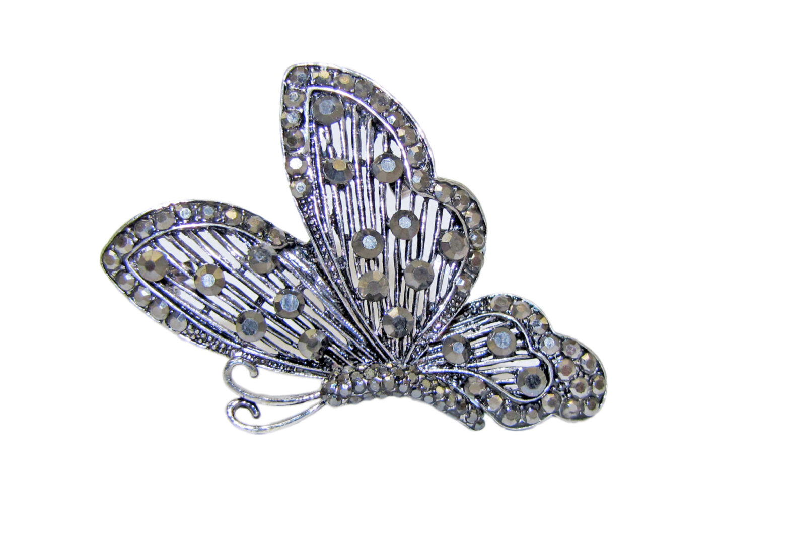 butterfly brooch with crystal studs