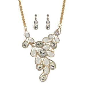 necklace and earrings with pearl and diamond crystals arranged like vines