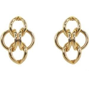 golden earrings with stylized hoops interlocking