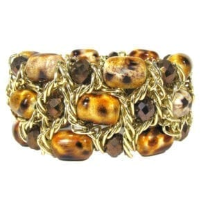 bracelet with twisted gold wires and brown stones