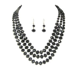 layered necklace with black gemstones