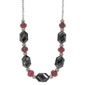 necklace with hexagonal black crystals and ruby beads