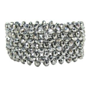 silver bangle with floral design