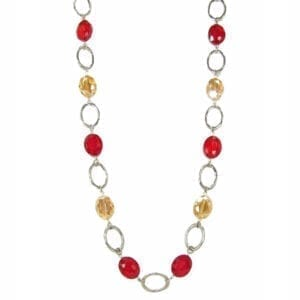 necklace with red and yellow crystals and silver chain hoops