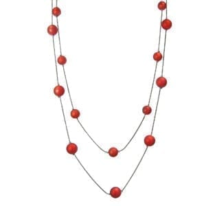 chord necklace with spherical red beads