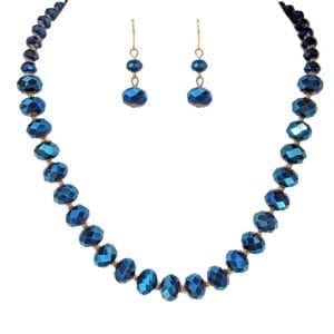 necklace and earrings with sapphire gemstones