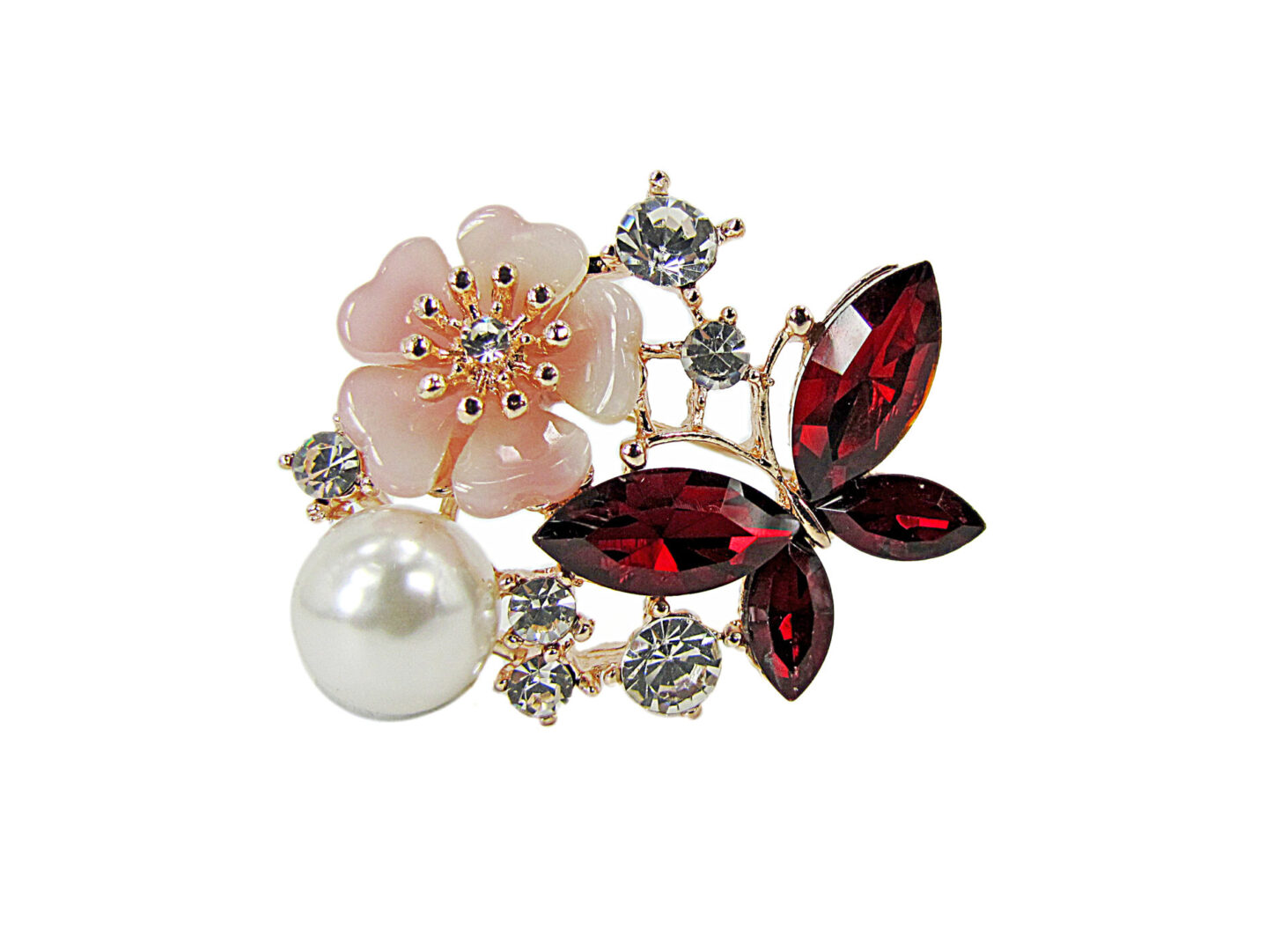 brooch with jeweled flower and butterfly